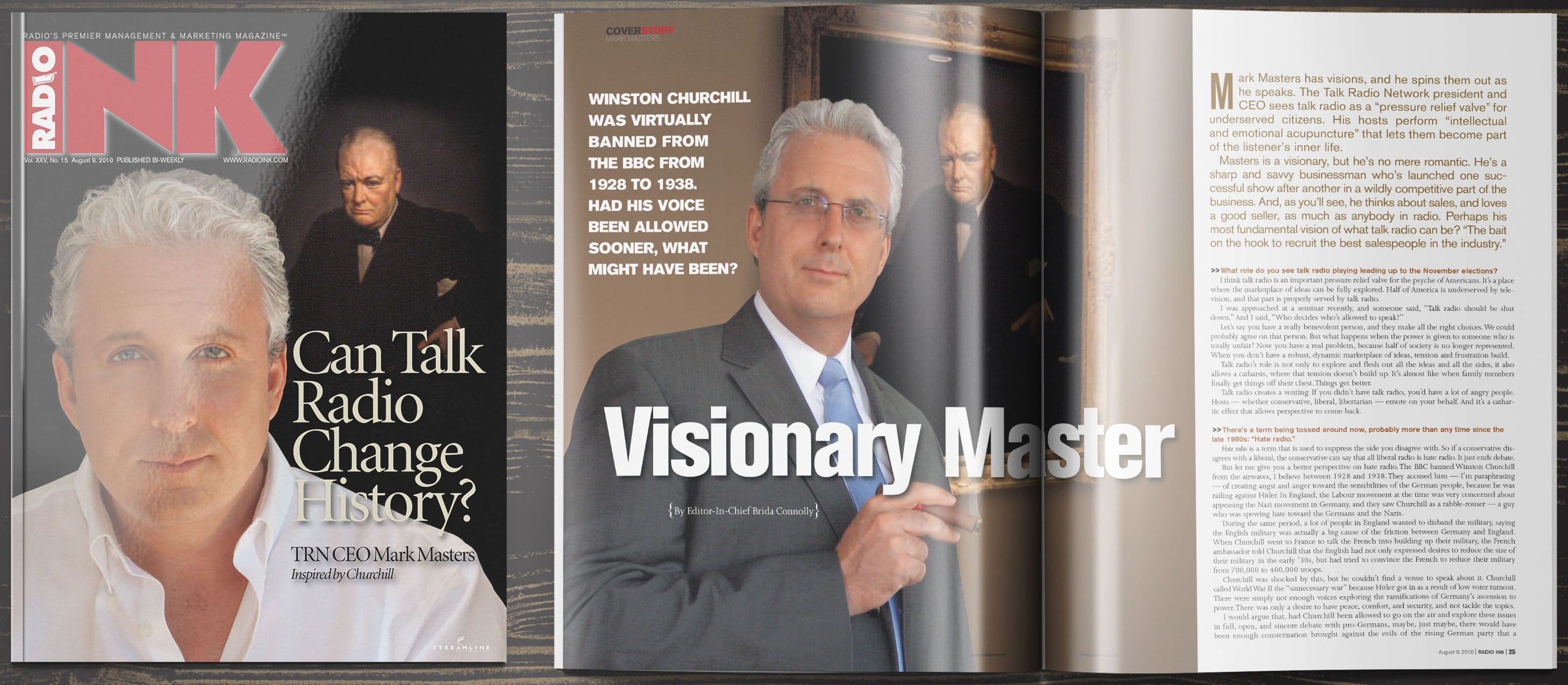 RadioInk spread showing Mark Masters interview
