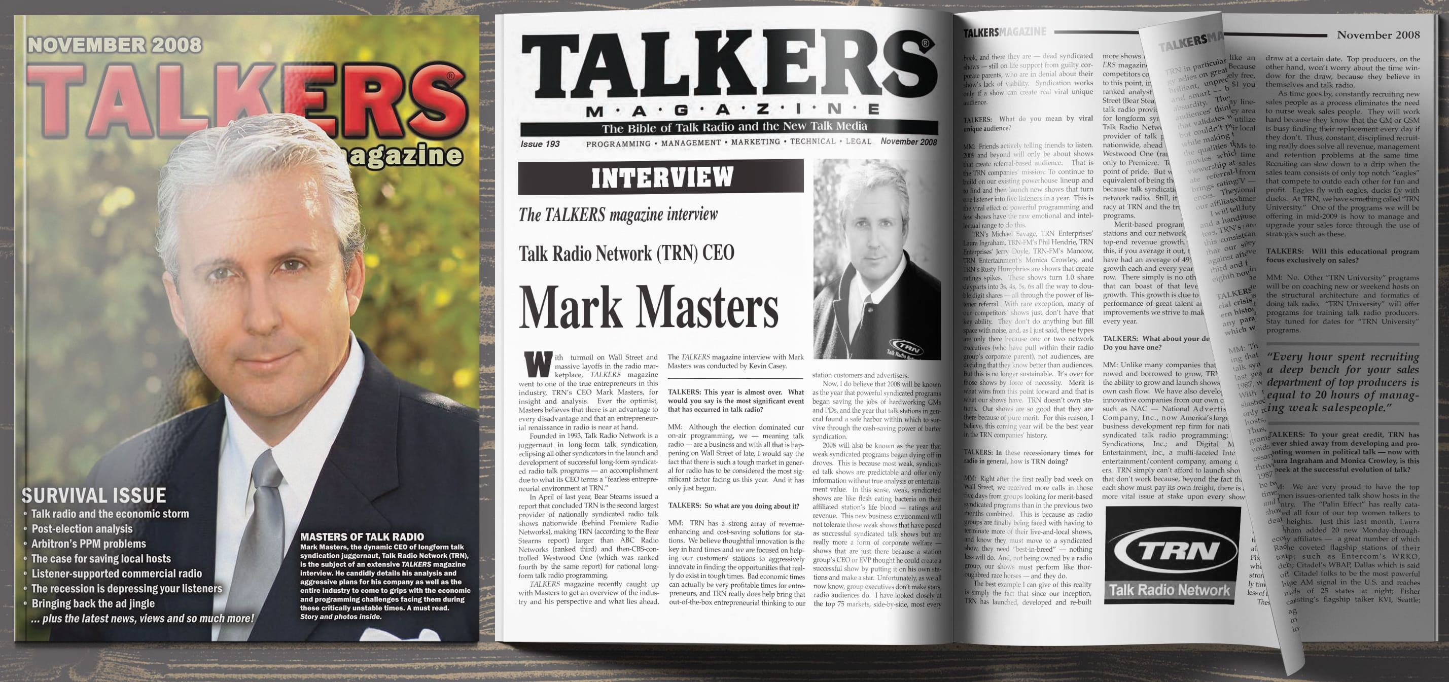 Magazine spread of TALKERS Magazine interview with Mark Masters