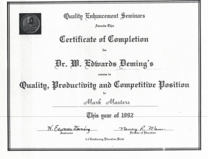 Quality Enhancement Certificate signed by Dr. Deming